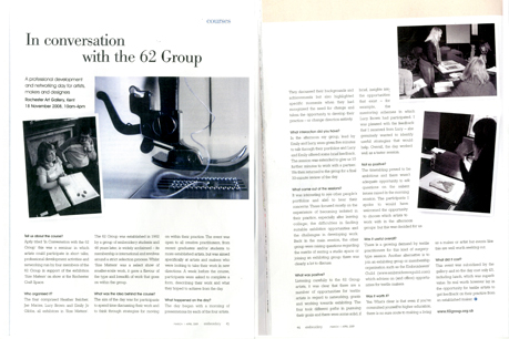 Size Matters. In Conversation with the 62 Group – article by Jo Hall for Embroidery Magazine; March/April 2009, pages 45-46.