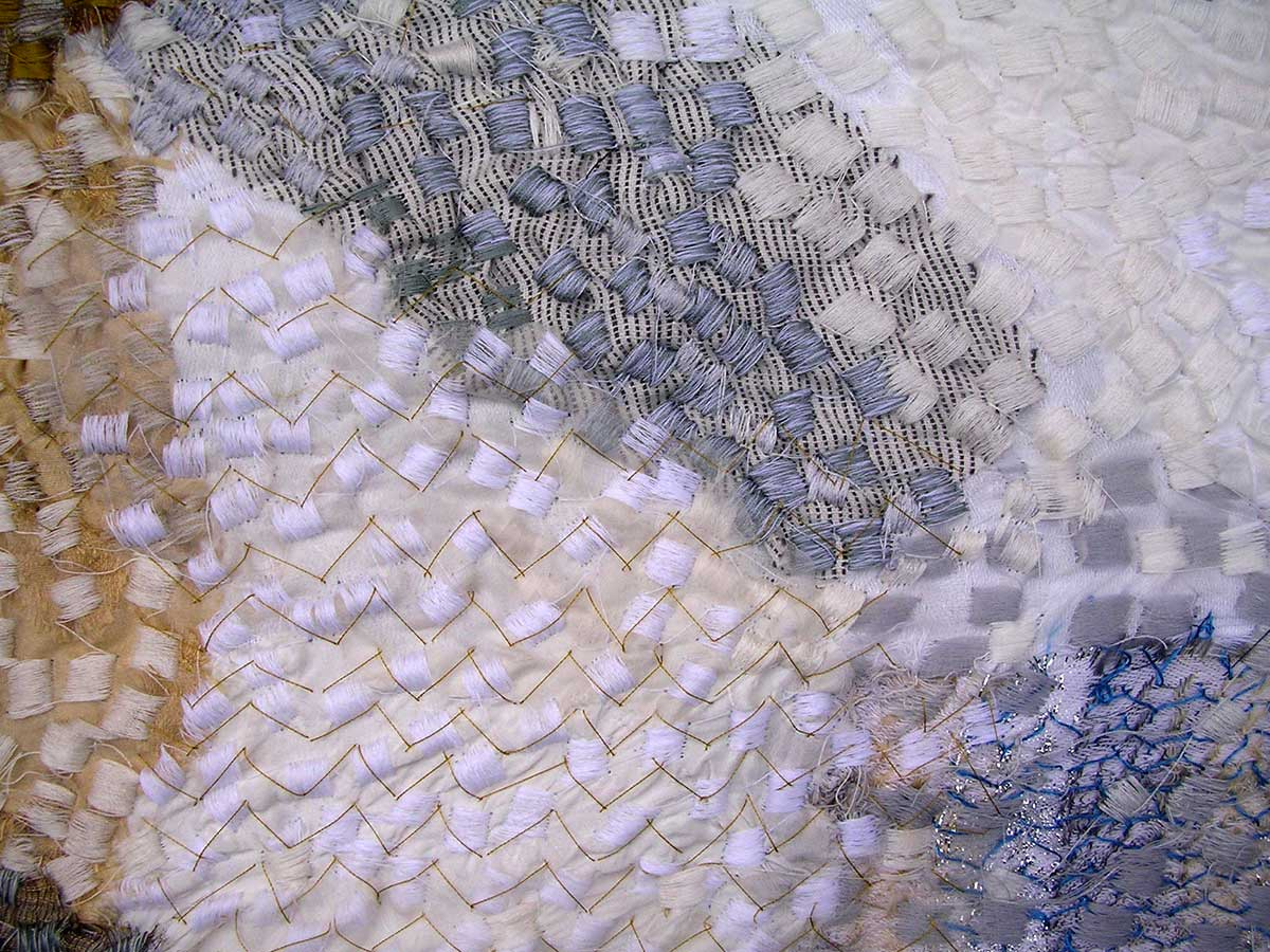 THE POSITIVES AND NEGATIVES OF SPACE (detail) | Materials : linen, cotton and silk. Techniques: collage, stitch and Irish machine embroidery.
