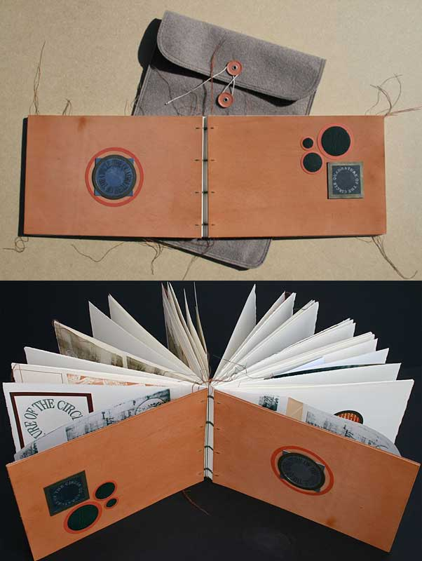QUADRATURE OF THE CIRCLE XXX (Artist Book-Coptic Binding) | etching, aquatint, embossing & stitch on Somerset 300g/m2 100% cotton & Fabriano; Screenprinting on various cotton paper.