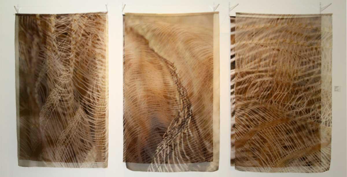 SHIMMER   Digital print on silk organza and silk satin; 130cm x 200cm x 30cm. Photo: Catherine Dormor