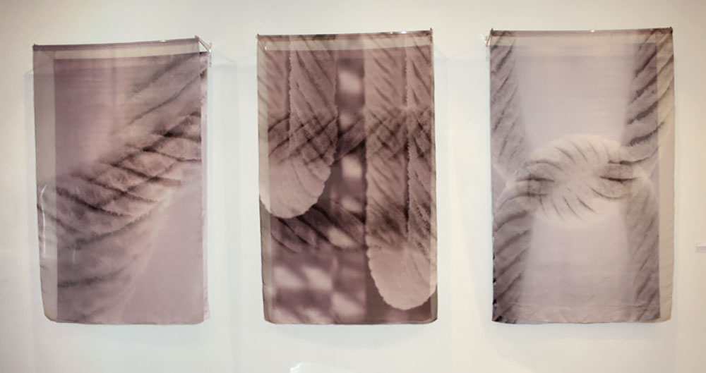 CARESS | Digital print on silk organza and silk satin; each 130cm x 200cm x 30cm. Photo: Catherine Dormor