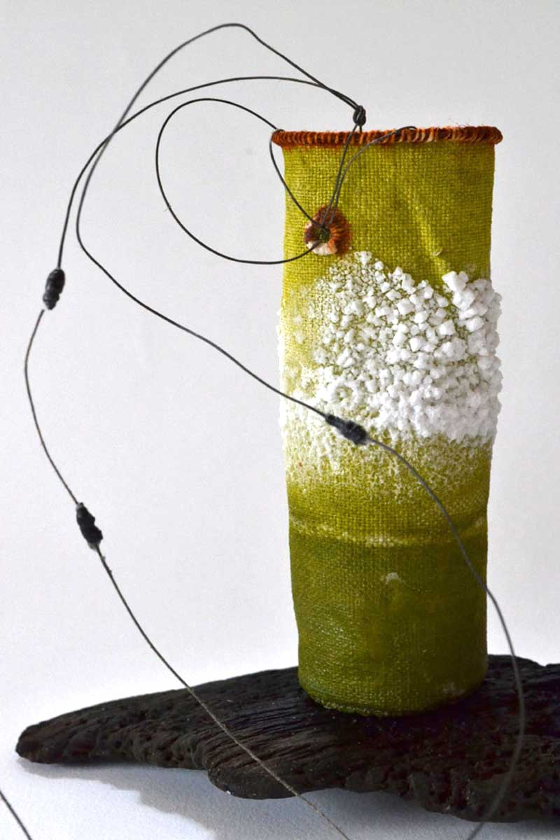 GREEN SALT POT | Linen, wire, salt, found thread, driftwood; 13cm high x 5cm diameter