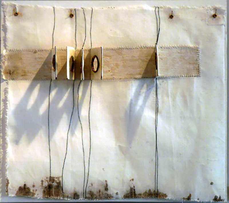 TARPAULIN CLOTH | Linen, wire, wax, rainwater; 48cm high x 52cm wide