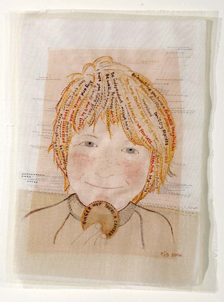 FRED | Cotton sheet, silk organza, paint, hand-stitch; 22cm x 30cm