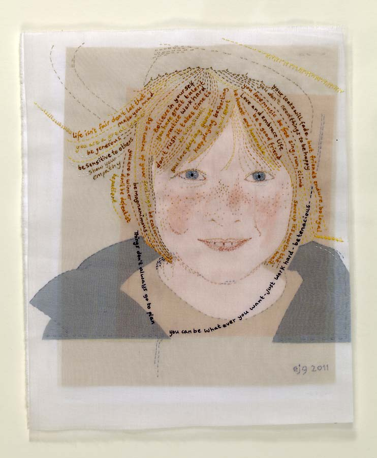 BILLY | Cotton sheet, silk organza, paint, hand-stitch; 25cm x 30cm. Photo: Michael Wickes