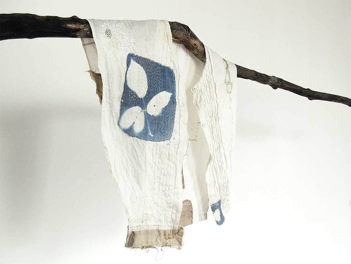 IN SEARCH OF GREEN (Detail) | Textile, stitch, natural dye, cyanotype, found objects; installation - various. Photo: Hannah Lamb