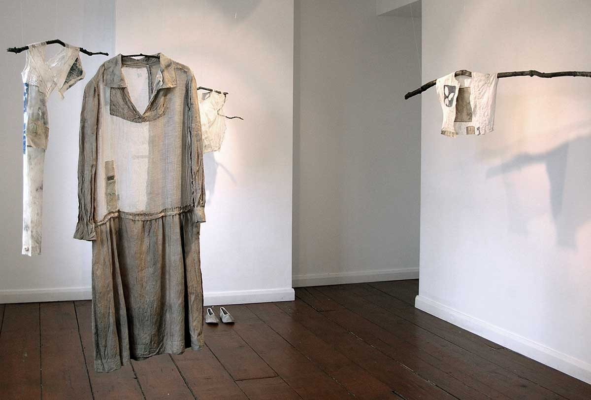 IN SEARCH OF GREEN | Textile, stitch, natural dye, cyanotype, found objects; installation - various. Photo: Hannah Lamb