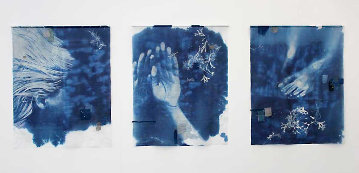 BAPTISM | Silk, stitch, cyanotype; triptych - each 73cm wide x 90cm high. Photo: David Ramkalawon