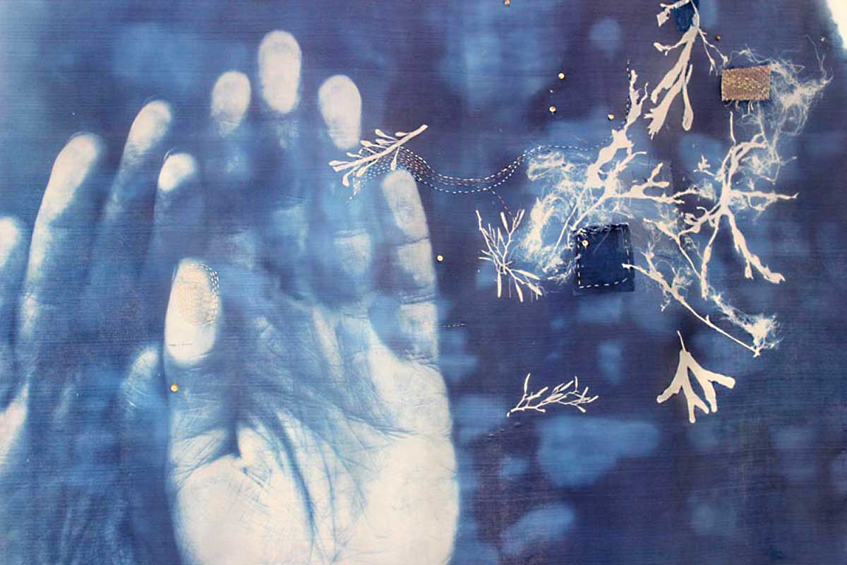 BAPTISM (Detail) | Silk, stitch, cyanotype; triptych - each 73cm wide x 90cm high. Photo: David Ramkalawon
