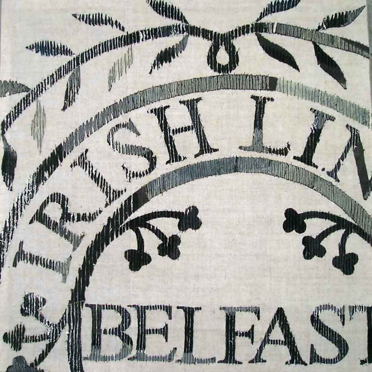 LINEN STAMP BELFAST | made for linen biennale in Krosno, Poland, celebrating the once great Irish Linen Industry