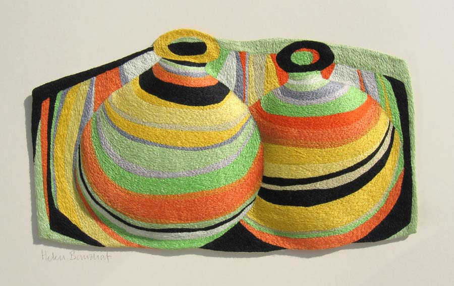 TWO FAT BOTTLES | Mercerised cotton thread on calico; 31cm wide x 18cm high.