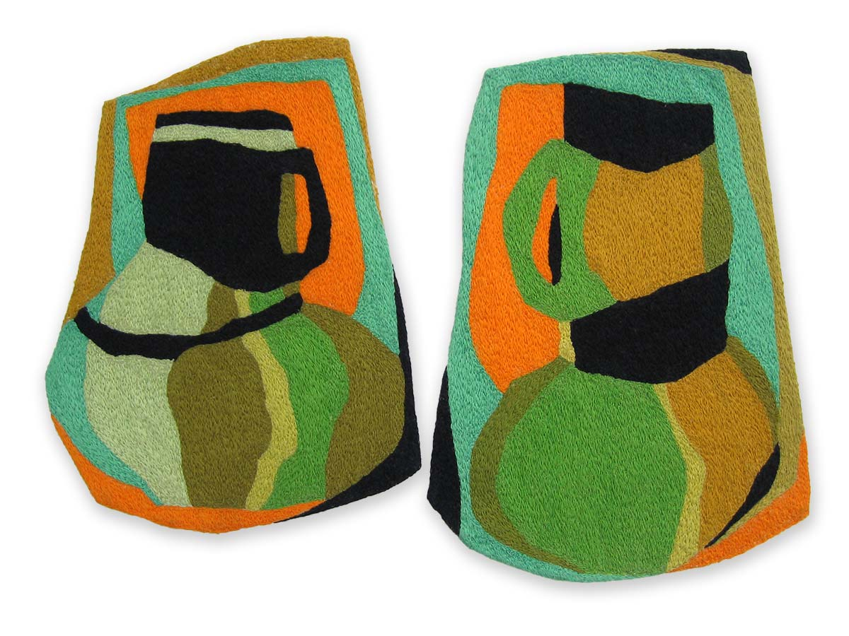 TWO TANKARDS SIDE BY SIDE | Mercerised cotton thread on calico