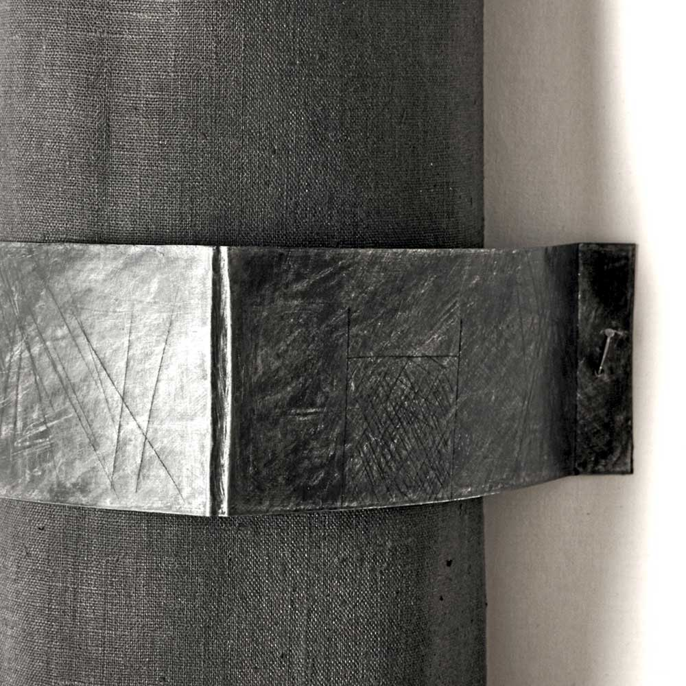 WAITING 3 (detail) | Linen, aluminium, sawdust; 125cm x 16cm x 15cm. Photo: Dick Makin Imaging