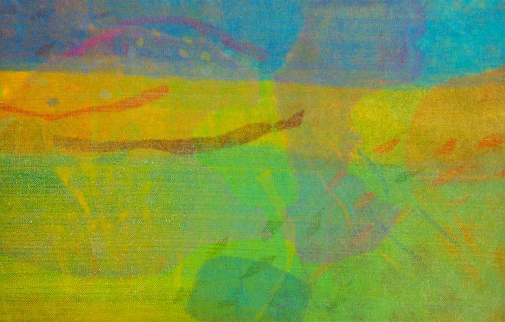 ADAPTIVE LANDSCAPE SERIES 4 | Needle felt, dyed merino wool, various plant fibres, synethetic organza; 170cm x 105cm. Photo: Dewi Tannant Lloyd