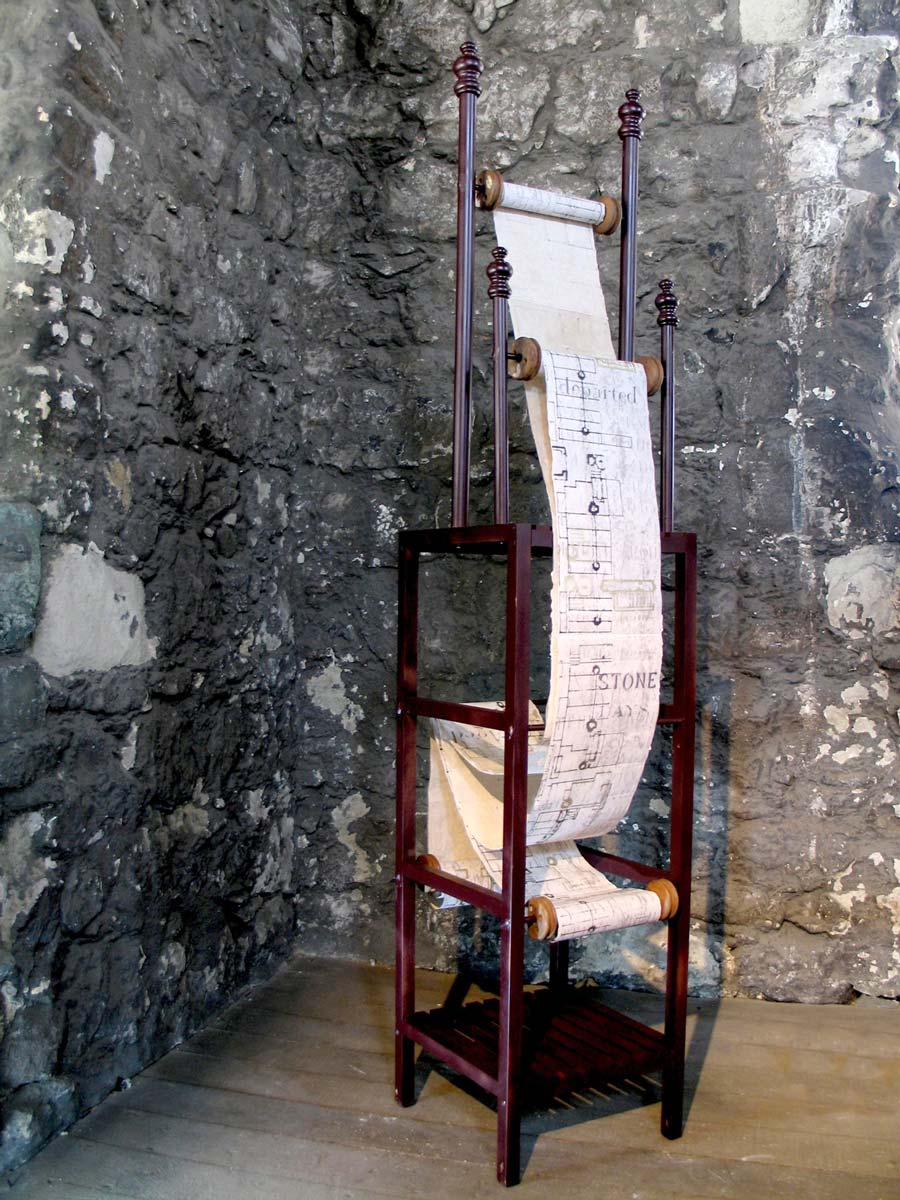 WINDINGS AND DURATIONS | Date: 2015 Site specific construction for St Augustine's Tower, Hackney, London Medium: Pair of screen-printed and stitched scrolls on paper, wooden rollers and stand Size: 45 x 45 x 200 cm (site specific construction) Photo: Maggie Henton.