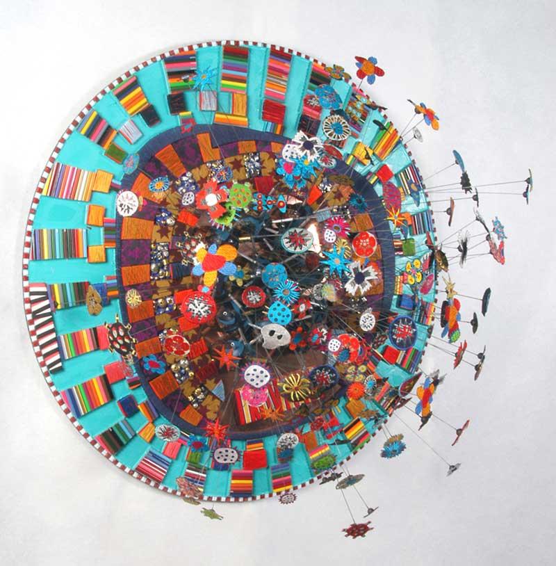 SWEET JAIN   Machine embroidery, wire, pencils, copper, resin, fabric, thread; 90cm diameter x 60cm deep. Photo: Peter Mennim.