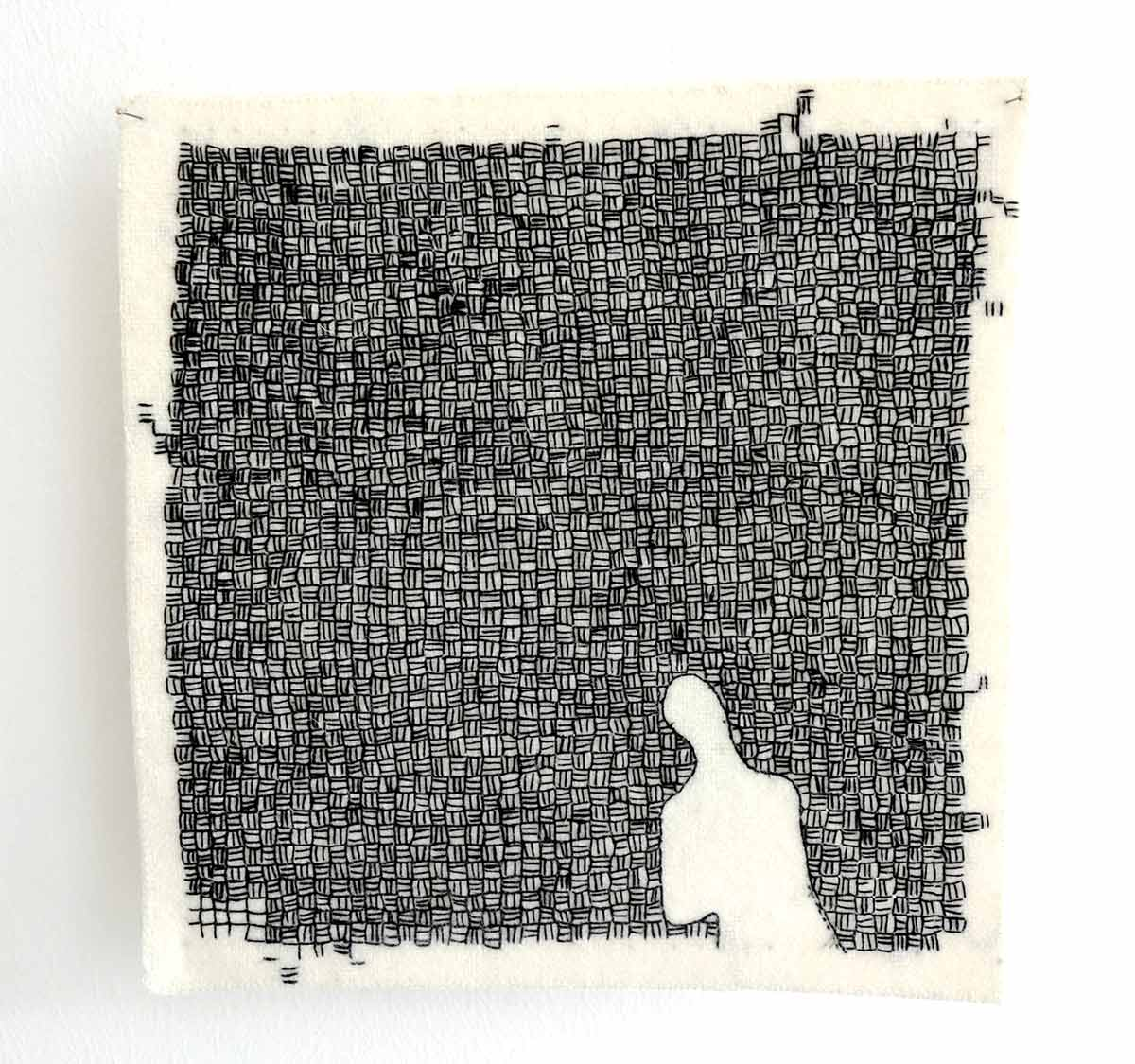 FIVE O'CLOCK SHADOW | Hand embroidered, cotton on wool,19cms x 19cms. Photo: Yeshen Venema.