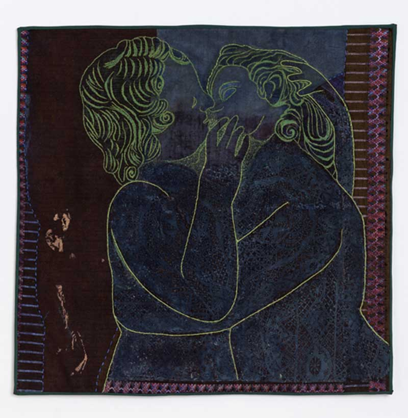 PSYCHE AND EROS | Indigo-dyed Chinese fabric, old lace, threads, paints. 49cms X 50cms. Photo : Michael Wicks
