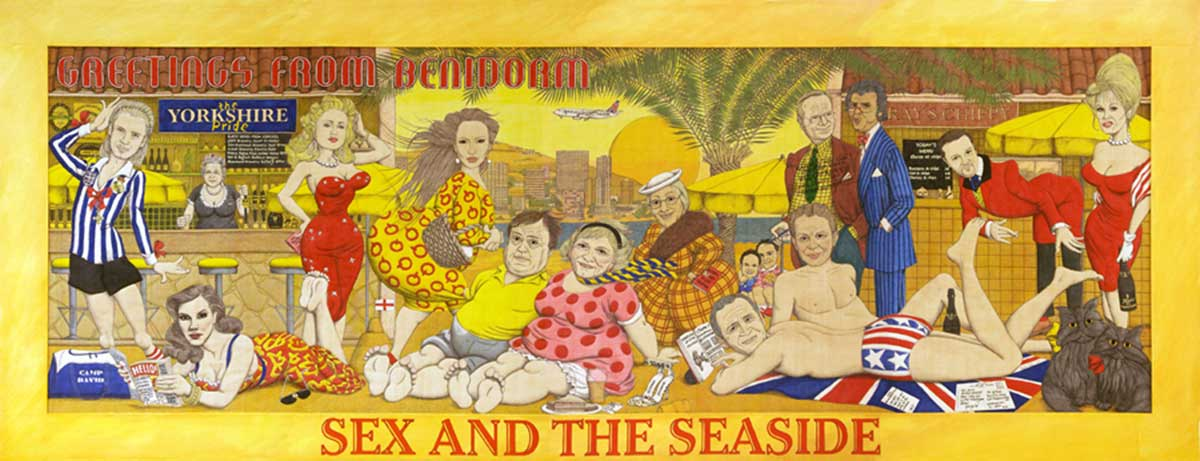 SEX AND THE SEASIDE | Commissioned in 2004 by Kirklees Council for their touring exhibition of cards by Bamforth & Co, Secrets of the Sexy Seaside Postcard. The piece depicts Bamforth's characters as contemporary celebs on holiday in Benidorm, the new Blackpool.
