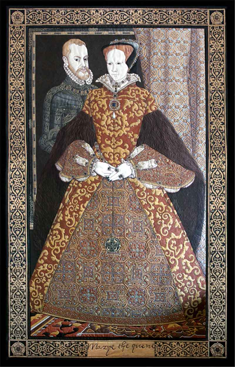 MARYETHE QUENE | Commissioned in 2004 by Hampshire County Council to commemmorate the 450th anniversary the marriage of Mary Tudor to Philip the 2nd of Spain at Winchester Cathedral. The piece refers to paintings by Hans Eworth, Holbein & Titian.