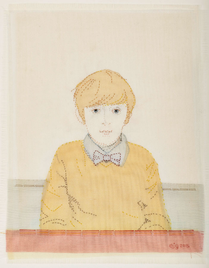 FRED IN YELLOW JUMPER | Silk organza, linen, paint, hand-stitch; 22cm x 27cm. Photo: Lol Johnson