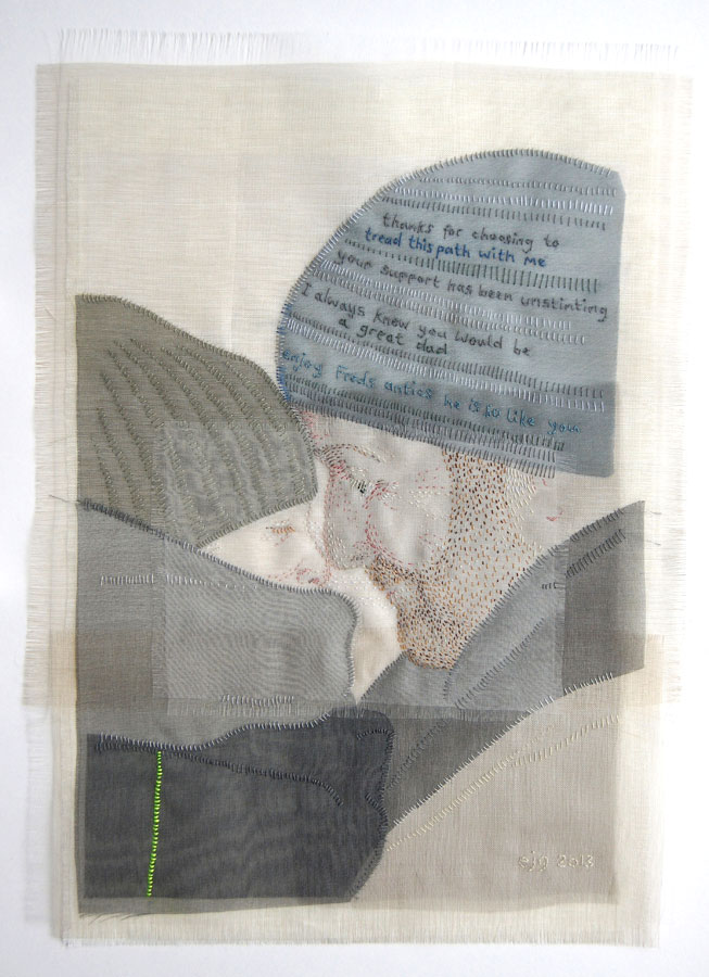 HE IS SO LIKE YOU | Silk organza, linen, hand stitch; 21 x 30cm; Photo: Emily MacKillop.