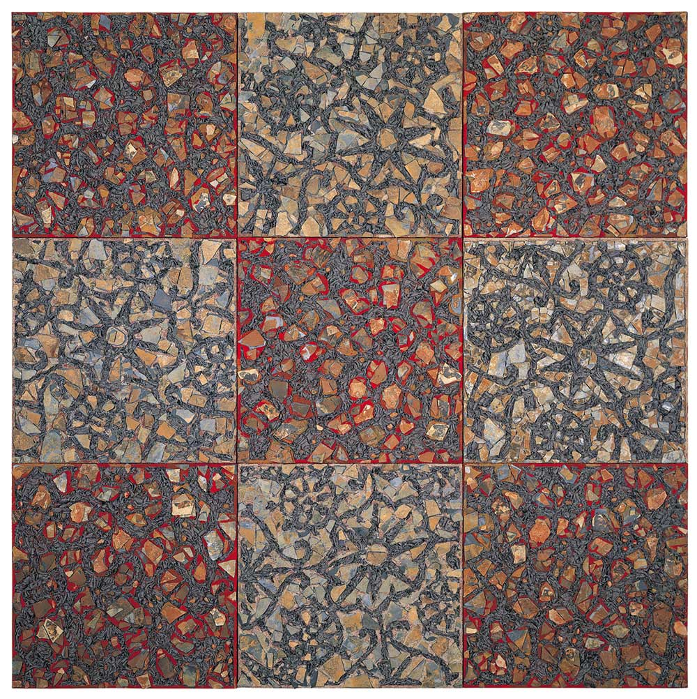 PERFECT SKIN – 1995 | Inlaid fabric into tile and sand base : Photo-James-Austin