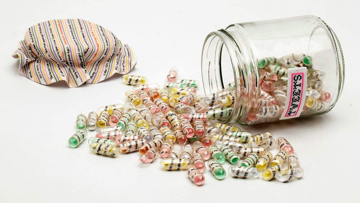 TWEETS (NOT SWEETS) | Cotton fabric, silk threads, capsules, sweet jars. Hand stitch.