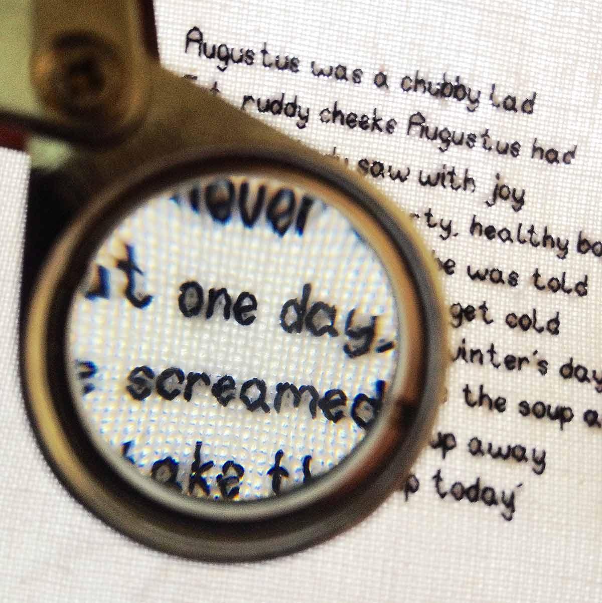 AUGUSTUS & EDIE (detail). Cotton fabric, silk threads. Hand stitch.