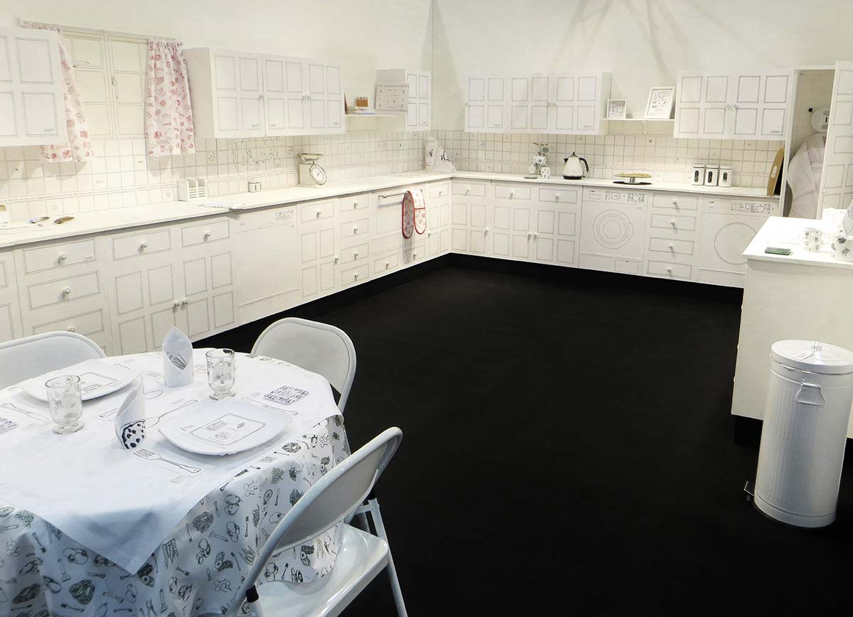 SHE WAS COOKING SOMETHING UP | Plinths, cotton fabric, silk threads, household appliances. Silkscreen printing, hand stitch