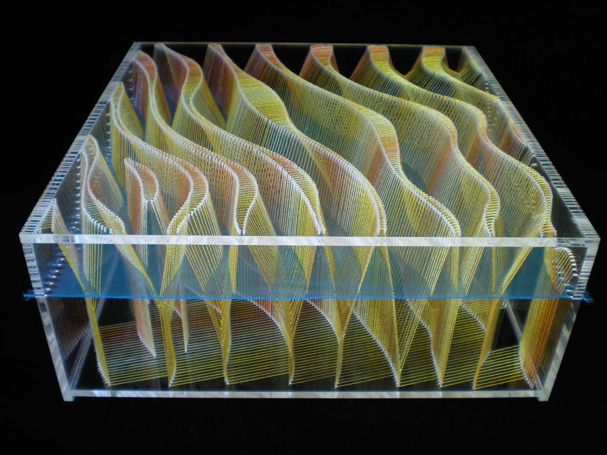 FLY STITCH SAND RIPPLES – 2014 | Acrylic, cotton, organza; 25cm x 10cm x 25cm