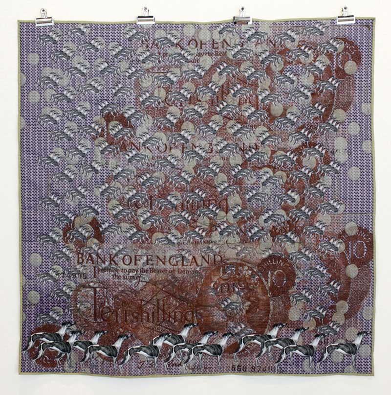 THERE GOES A TENNER | Quilt, digital print on cotton panama with hand and machine embroidery. Size: 140 cm x 140cm. Date: 2011