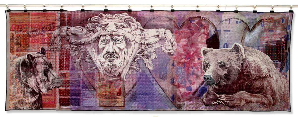 THE JOURNEY | Digital print, crewel work. Size: 400 cm x 130cm. Date: 2011