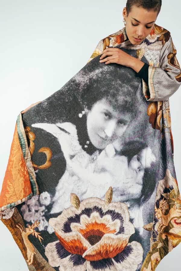 COAT FOR LETHBRIDGE SISTERS   Digital print silk satin crepe, hand embroidery, free machine quilting. Size: 140 cm x 350cm. Date: 2016