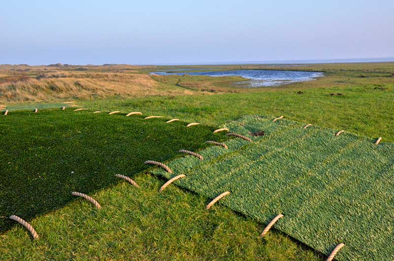 PATCHWORK | 2011 Ameland, The Netherlands | Artificial grass sewed on the real grass.