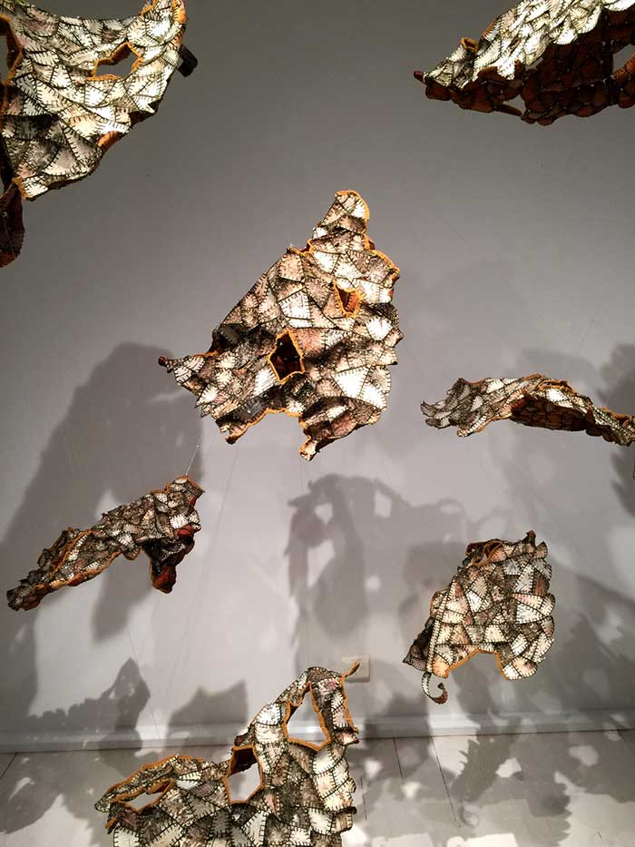 A TIME FOR   Installation made of pieces of birch bark sewed together
