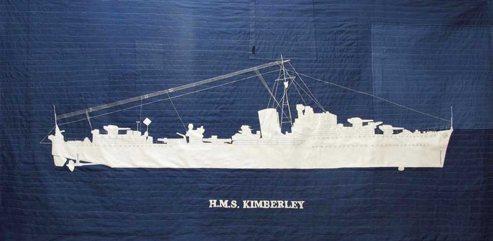 H.M.S. KIMERLEY | 2012, 210cm x 104cm, dyed, patched, machine and hand stitched linen and cotton