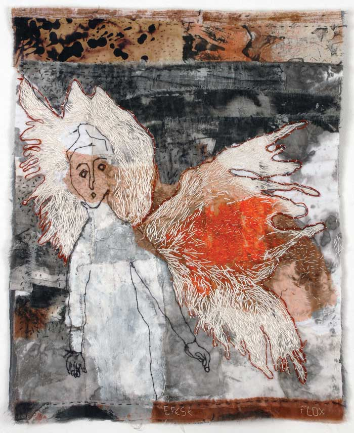 EFESE | 71h x 52w cm; Monoprinted, discharged, flour resist, embroidery on inkstained and acrylic painted cotton and polyester sheer.