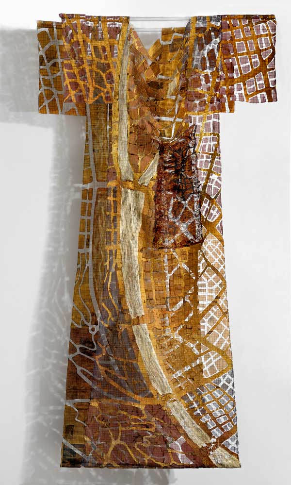 CITY SKINS | 2015 – Machine sewn newspaper,and organza – 250 x 110 x 30 cm. Photo: Tihanyi & Bakos.