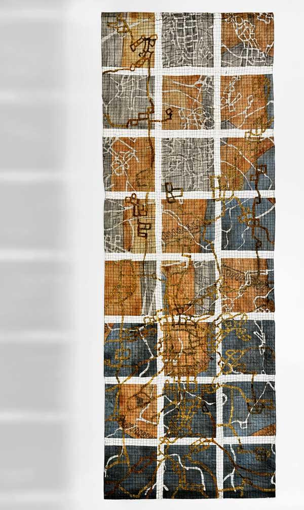 CONSTRUCTIVE DECONSTRUCTION | 2015 – Machine sewn newspaper and organza – 240 x 90cm. Photo: Tihanyi & Bakos