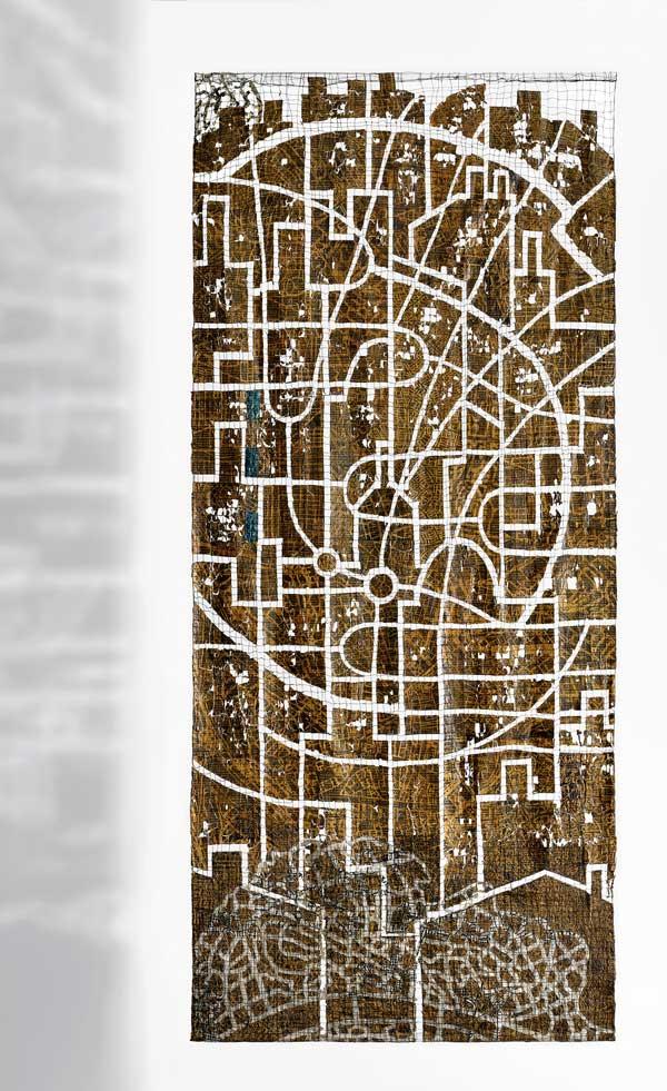 INNER MAPPING II | 2017 – Machine sewn newspaper – 20 x 100 cm. Photo: Tihanyi & Bakos.