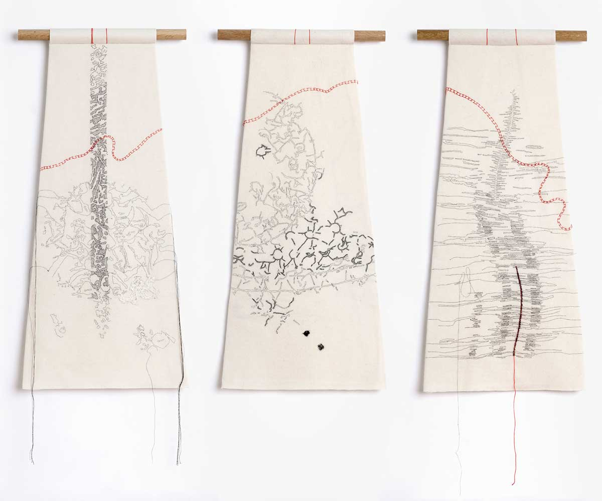 BACKWARDS/FORWARDS (detail 3 of 6) | 2011 - Wool fabric, cotton thread, hand stitched; 317x 72cms- each panel 33.7  x 72 cms. Photo: Michael Wickes.