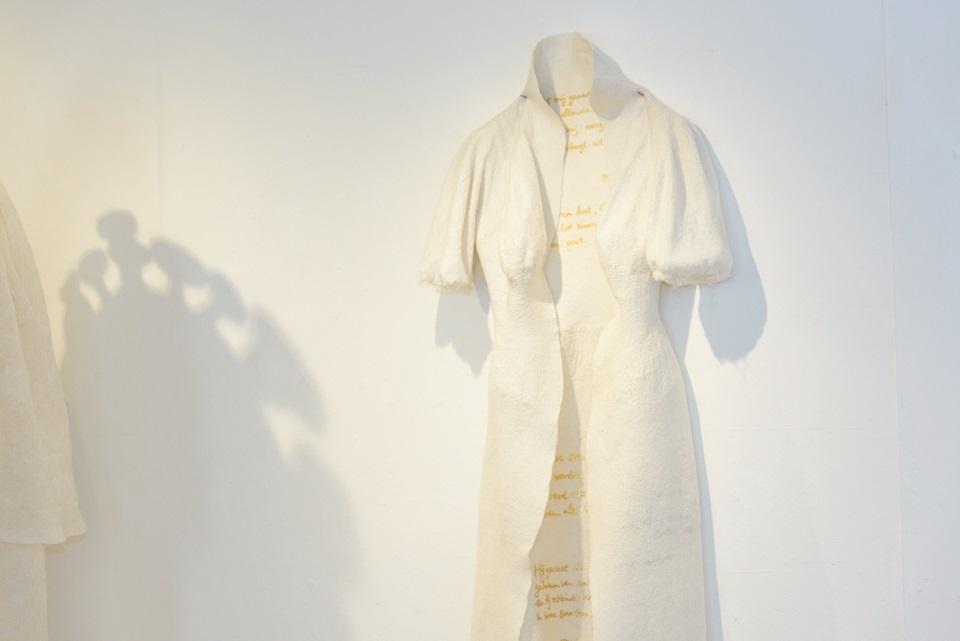 ANCESTRAL HEALING COSTUME FOR OMA |2017: Wool, silk, vintage wedding veil, silk thread, gold leaf, my grandmother's earrings. Photo: Juraj Ladziansky