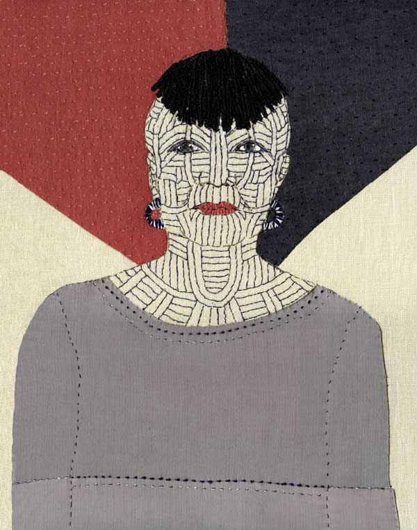 THIS IS ME (detail of tattooed face) | 2017 Materials: Recycled cotton & linen clothing fabrics on linen background. Techniques: Hand stitch, machine stitch, appliqué 1 of 12 self portraits (each 27 x 35.5 cm). Photo: Sue Stone