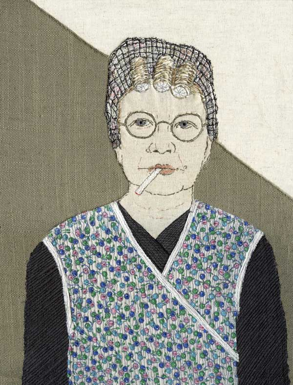 THIS IS ME (detail of Hilda) | 2017 Materials: Recycled cotton & linen clothing fabrics on linen background. Techniques: Hand stitch, machine stitch, appliqué 1 of 12 self portraits (each 27 x 35.5 cm). Photo: Sue Stone