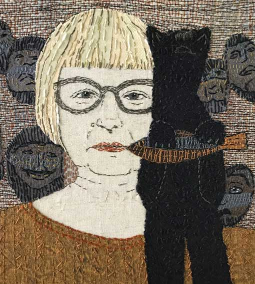 SELF PORTRAIT WITH BEAR AND MASKS |  (18.5 x 19.5 cm) Materials: Recycled cotton & linen clothing fabrics on linen background Techniques: Hand stitch, machine stitch, appliqué. Photo: Pitcher Design