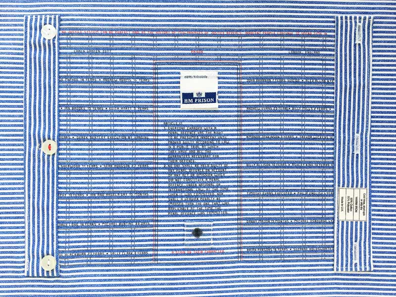 UDHR QUILT PROJECT - Article 11 - 2018 | Materials:	 HM Prison shirt, silk threads | Technique: Hand stitch.