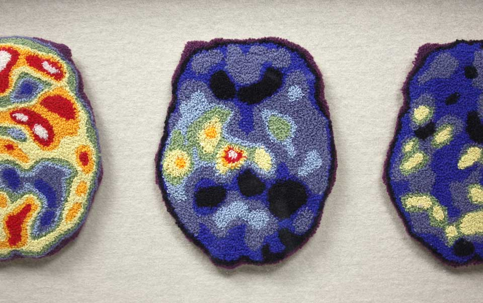 RUN OVER BY MY OWN PARADE   Brain patterns of mental health conditions in needle punched wool 15cm x 12cm (each).
