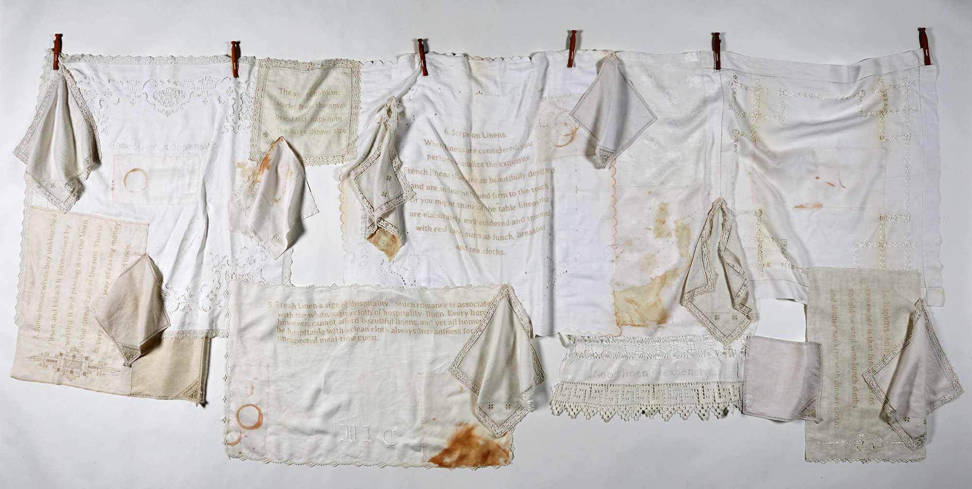 <strong>IRRELEVANT OBJECTS</strong> 2012  <strong>|</strong> 270 cm X 130 cm. Vintage table linens, silk organza, embroidery floss.
