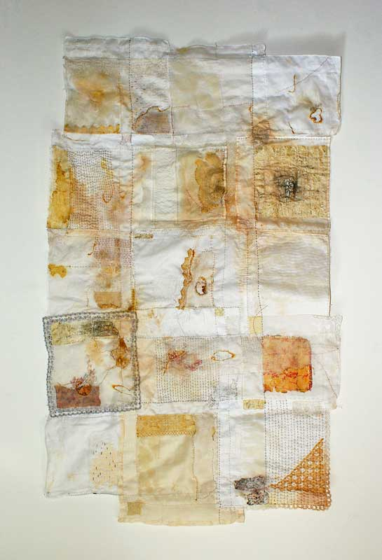<strong>TEARS HAVE BEEN SHED</strong> 2011 <strong>|</strong> 124 cm X 74 cm Vintage handkerchiefs, wax, paper, birchbark, silk organza, embroidery floss.